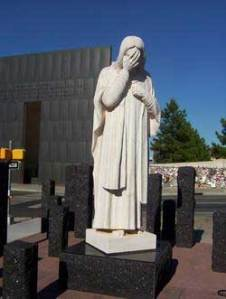 """Jesus Wept"" sculpture erected by St. Joseph's Catholic Church"